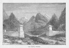 INDIA The Teesta Bridge in Sikkim - Antique Print 1888