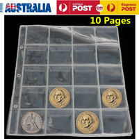 10 Pages 20 Pockets Plastic Coin Holders Storage Note Currency Collection Case