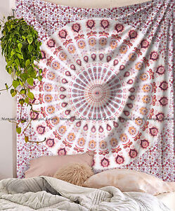 Peacock mandala wall hanging hippie bohemian cotton bedspread indian tapestry