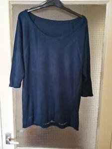 Sweaty Betty Bamboo Viscose Mesh Back/ Sleeve Navy Top Size Large Vgc
