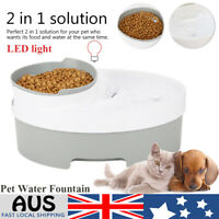 LED Automatic Electric Pet Water Food Fountain Cat/Dog Drinking Dispenser AU
