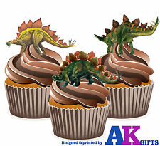 Dinosaurs Stegosaurus Boys Birthday Party 12 CupCake Toppers Edible Decorations