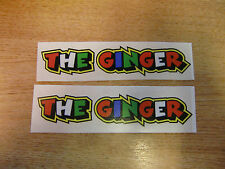 """Valentino Rossi style text - """"THE GINGER""""  x2 stickers / decals  - 5in x 1in"""