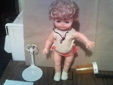 """11"""" toys hem white dress bow doll Hong Kong Kenner 1970's played with body doll"""