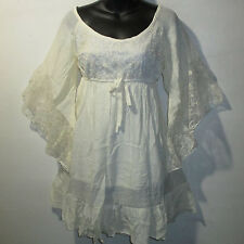 Dress XL Ivory Empire Waist Mini / Long Tunic Top Wide Lace Sleeves NWT 2427