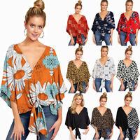 Summer Women Floral Tops Sleeveless T Shirt V Neck Tie Beach Loose Blouse Tunic