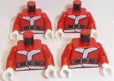 Lego Santa Father Christmas Torso x 4  Red Xmas Pattern for Minifigure