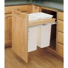 Dual Face Frame 50 Qt Pull-Out White Waste Garbage Container Top Mount Trash Bin