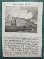 1834 Xilografia Stampa ~ Vista Di Malta