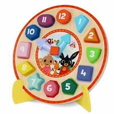 Bing Wooden Puzzle Clock with Stand Shaped Number Pieces and Movable Hands