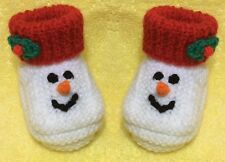 KNITTING PATTERN - Christmas Snowman Booties / shoes  fit 3 - 6 month old Baby