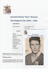DON WESTON BIRMINGHAM CITY 1959-1961 RARE ORIGINAL HAND SIGNED MAGAZINE CUTTING