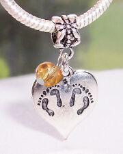 Twins Footprint Heart November Birthstone Dangle Bead for Euro Charm Bracelets