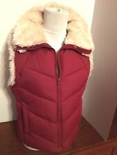 Women's Big Chill Maroon Fur Trimmed Polyester Zip Front Vest w/Pockets, Size M