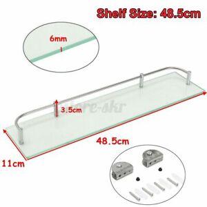 UK Glass Bathroom Shower Shelf Storage Rack Wall Mounted Holder Caddy Organizer