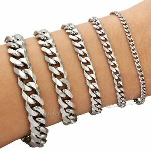"""3/5/7/9/11MM CURB Link Silver Tone Stainless Steel Bracelet Mens Chain 7/8/9/11"""""""