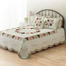 Home Classics Madeline Quilted Bedspread - KING 100% Natural Cotton BRAND NEW