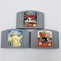 Lot Of 3 Nintendo N64 Pokemon Games (Stadium, Snap, Hey You Pikachu) Authentic