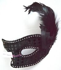 NEW Black sequin and feather Masquerade Mask Eye Prom Gothic halloween
