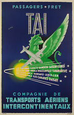 Affiche Originale Aviation - W. Pera - TAI - Afrique - Asie - Indochine - 1950