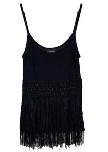PRINCIPLES   Knit Camisole Top   Beads Fringe Tassles   Black   Size 16 (EUR 44)