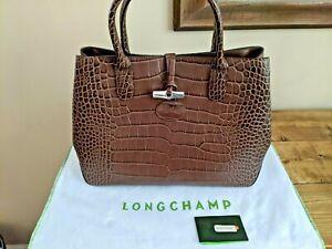 Longchamp NWT Roseau Top Handle Crocodile Embossed Brown Leather Handbag Dustbag