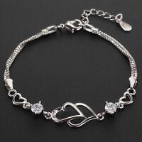 2019 New Xmas Valentine Open Heart Alloy Bracelet Charm Jewellery Womens UK