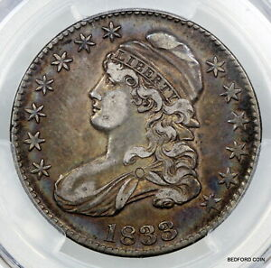 TONED PCGS XF40 1833 CAPPED BUST SILVER HALF DOLLAR XF 50c   (BC45)