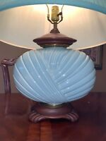LAMP 1950's MID CENTURY MOD Haeger POTTERY Mint Green3150 SIGNED ANTIQUE HUGE
