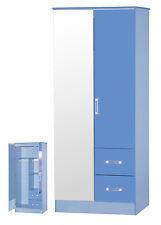 Ark Marina | Boys Blue Gloss | Mirrored 2 Door & 2 Drawer Double Combi Wardrobe
