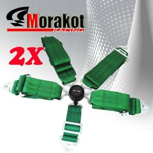 New 2x(Pair) 5 Point Camlock 3 inch Quick Release Safety Seat Belt Harness Green