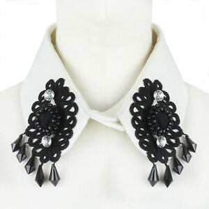 Clements Ribeiro White Black Crystal Bejewelled Applique Collar