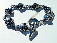 Bracelet 22 cm 7 Tetes de Mort Skull Goth Rock Argent 12 mm Acier Inox Biker