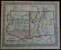 Arizona New Mexico American Southwest County Map 1872 Mitchell map