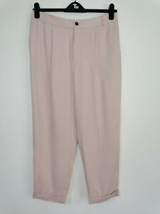 NEW Zara HIgh Waist Tapered Leg Blush Pink Cropped Lyocell Trousers Size L