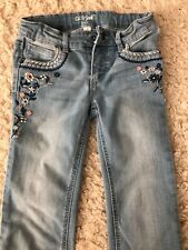 Girls Cat & Jack Soft, Faded Wash Bootcut Jeans W Flowers, Sz 8