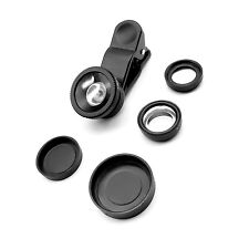 3 in 1 Fish Eye Wide Angle Micro Lens Camera Clip Kit For iPhone HTC LG Black