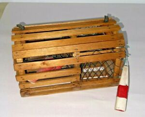Best Vintage Hand-Crafted Folk Art Wood Miniature Lobster Trap with Buoy