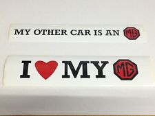 I LOVE MY MG + MY OTHER CAR IS AN MG DECALS - STICKERS LMG1001 LMG1002 Decorativ
