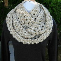 INFINITY SCARF COWL LOOP Ivory Off White Beige Gray Thick Crochet Circle Winter