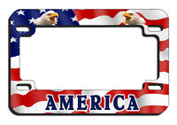 USA Flag Eagles Motorcycle License Plate Frame Metal Personalize Gifts Bikers