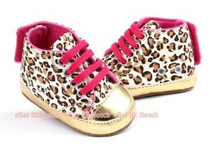 Newborn Baby Girl Gold Leopard Sneakers Soft Sole Crib Shoes 3 6 9 12 18 Months