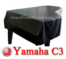 "Yamaha Black Vinyl Grand Piano Cover  for Yamaha C3 - 6'1"" - SIDE SLITS"