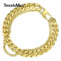 Trendsmax Men Boys Curb Cuban Link Chain Bracelet Stainless Steel Bangle Jewelry