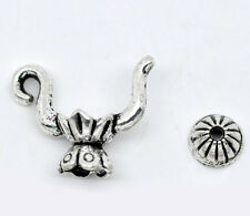 10 Sets Silver Tone Teapot Charm Bead Caps Set 19x15mm