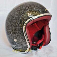 Casco helmet jet Torx omolagato Black Metal Flake scrambler cafe racer custom