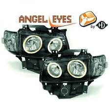 LHD Projector Headlights Pair Angel Eyes Clear Black VW T4 Longnose 96-03