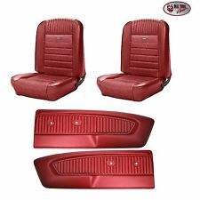 PONY Seat Upholstery F/R - 1964 - 1966 Ford Mustang + Pony Door Panels - Dk Red