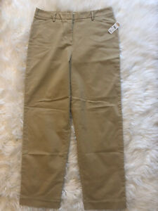 Talbots Womens Size 14 Pants Trousers Tan Stretch Straight Leg NWT