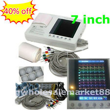 12 leads 3 channel ECG EKG machine 7 inch LCD Electrocardiograph interpretation